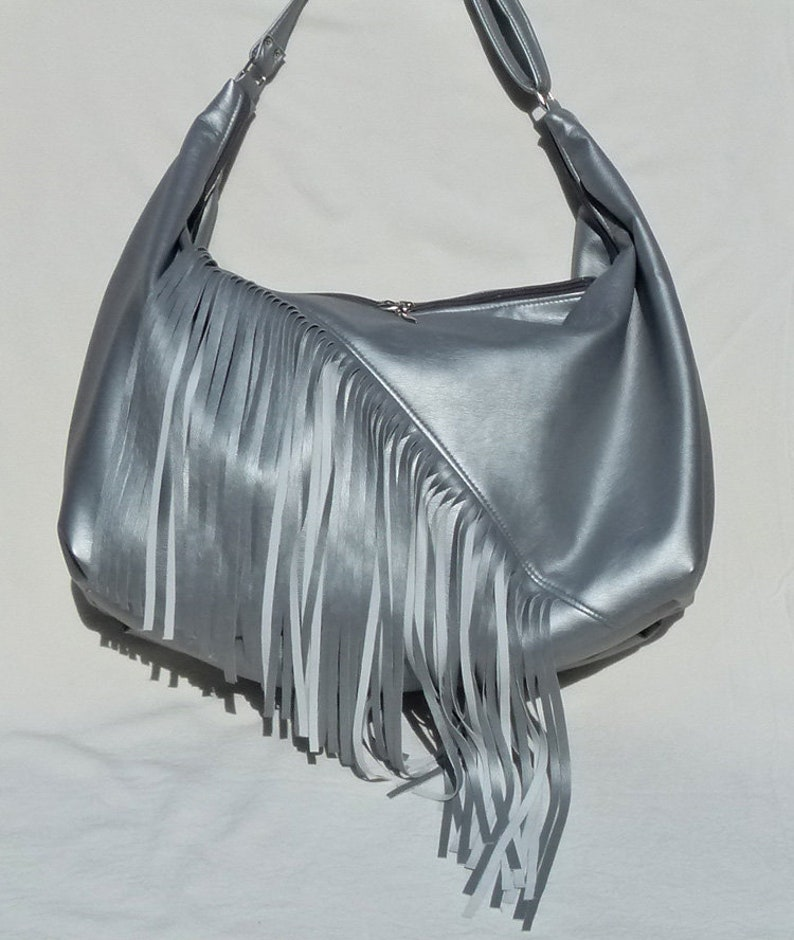 44f06088a1ad SALE Hobo Sling Bag with built in wallet- Matte silver Ultraleather by  Grizzly Creek