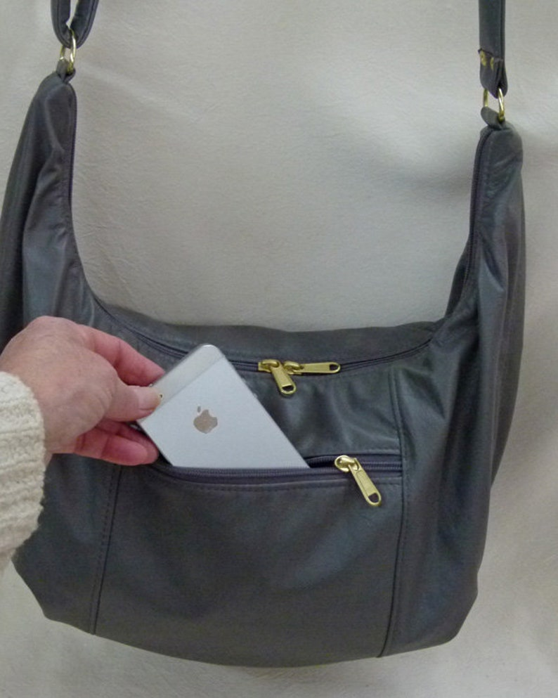 1cf33583d9cd Hobo Sling Bag with built in wallet- Gray Leather by Grizzly Creek