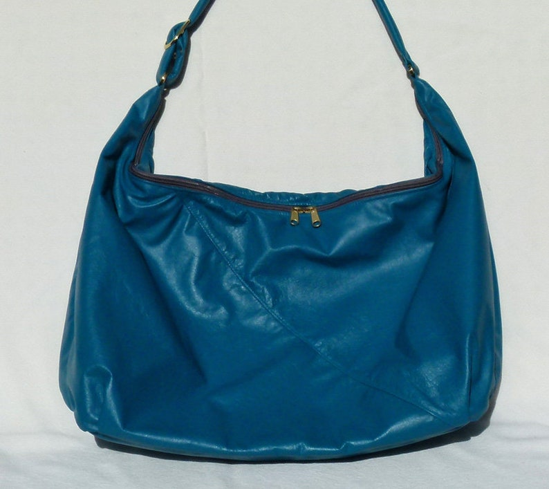 df760d6c064e Hobo Sling Bag Bright Teal Leather Extra Large with built in wallet from  Grizzly Creek by Debbie free shipping