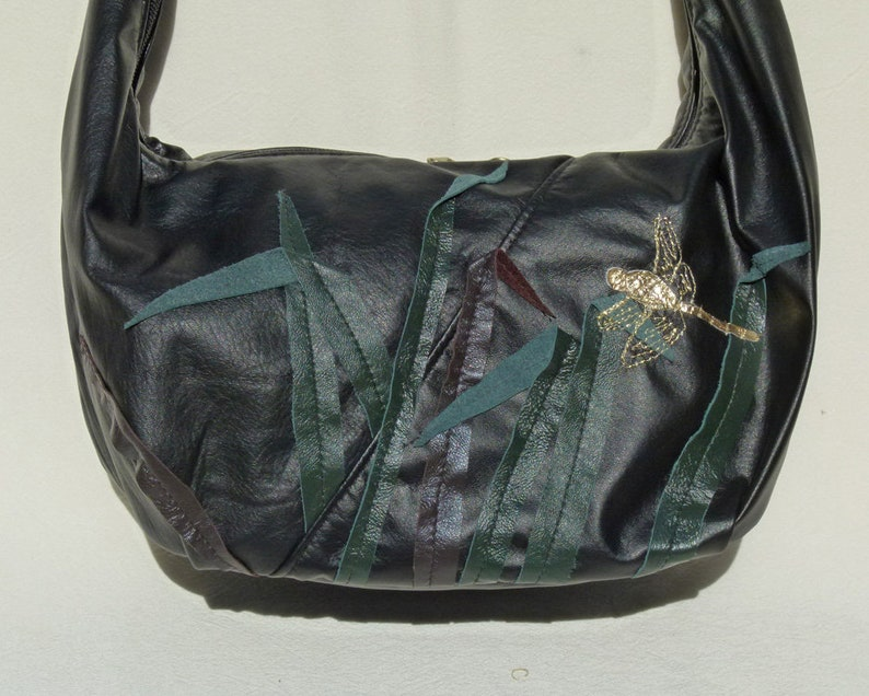 707caa008f48 Hobo Sling Bag with built in wallet- Black Leather with Golden Dragonfly by  Grizzly Creek