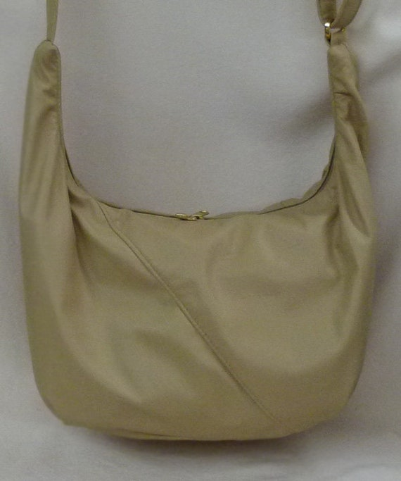 6bfc500656d6 Hobo Sling Bag with built in wallet- Beige Leather by Grizzly Creek