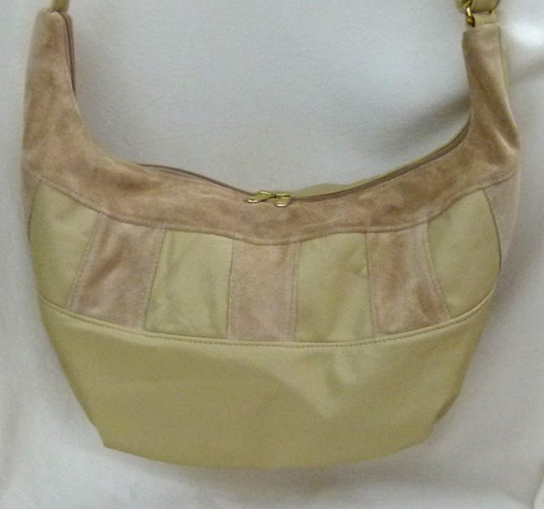 b1fefe206934 Hobo Sling Bag with built in wallet- Beige Suede and Leather by Grizzly  Creek