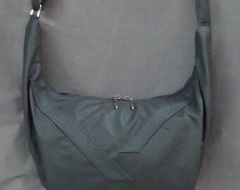Leather Hobo Bag Leather Grey Medium