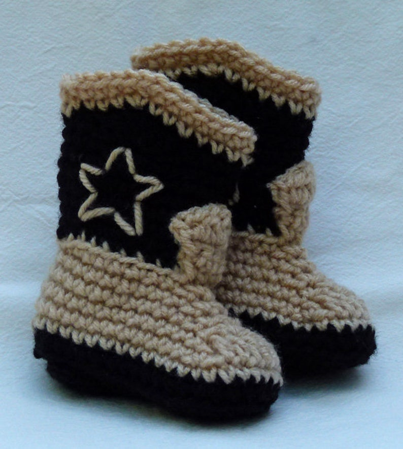 Crocheted Baby Booties Cowboy Boots Western Cowboy Booties Etsy
