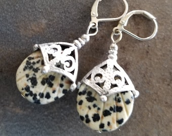 Antique Silver with Dalmation Jasper