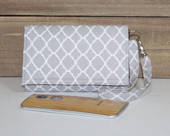 size 40 8b4e7 b5763 Cell Phone Wallet Wristlet, iPhone Wristlet Case, iPhone X, XS Max, XR,  iPhone 7, 7 Plus, 8, 8 Plus, iPhone 6s, 6s Plus / Gray White Lattice