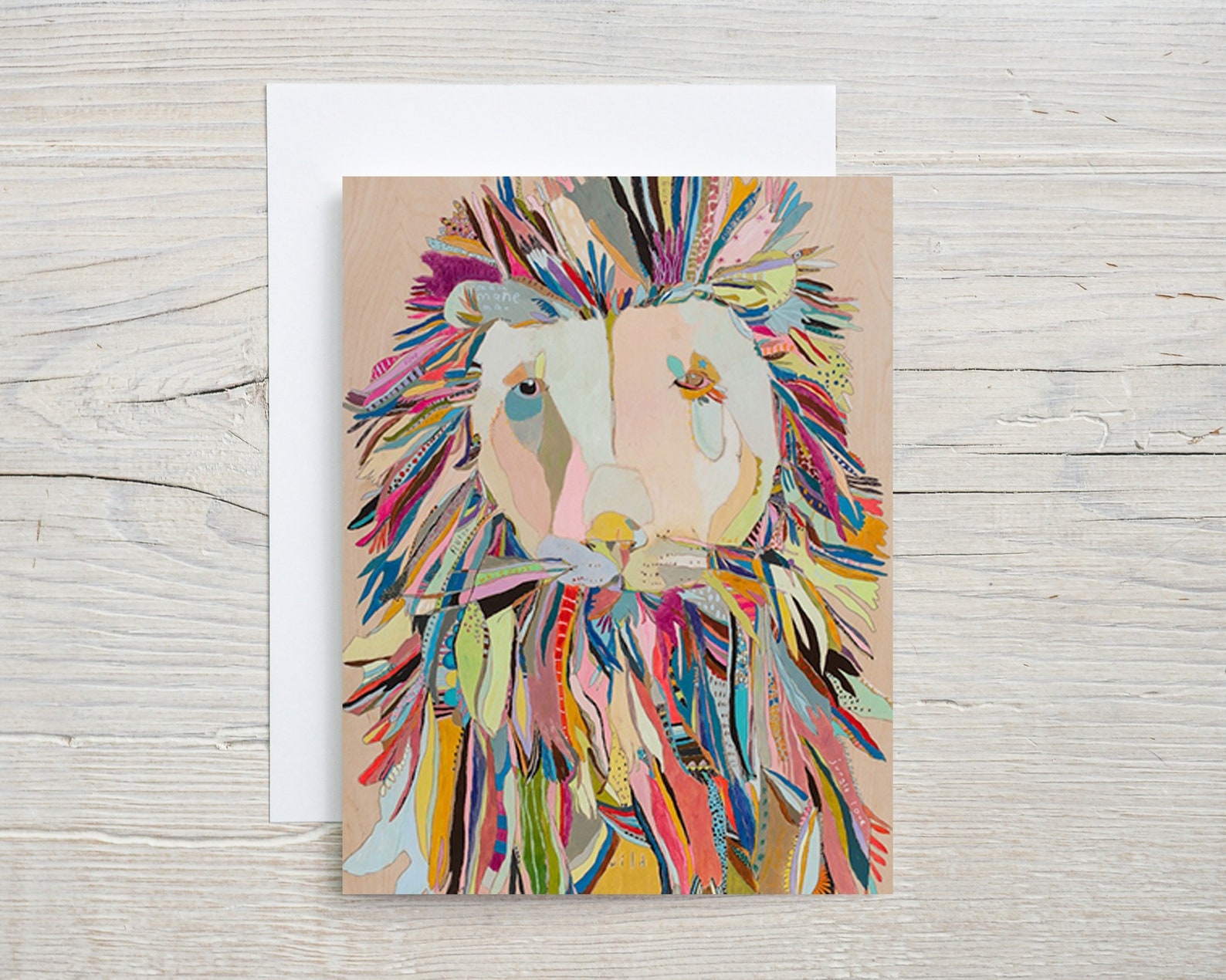 colorful lion greeting card blank inside jungle safari  etsy