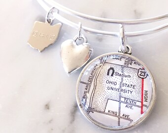 The Ohio State University Map Charm Bangle Bracelet - Personalized Map Jewelry - Stacked Bangle - Buckeyes - Ohio State - TBDBITL - The Shoe
