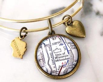 University of Wisconsin-Milwaukee Map Charm Bracelet - UWM Charm Bracelet - UW-Milwaukee Charm Bracelet - Graduation Gift