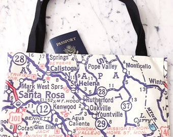 Wine Country Map Tote - Wine Country Map Bag - Wine Country Tote Bag - Wine Country Bag - Wine Country Tote - Napa Tote - Sonoma Tote