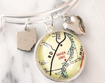 Xavier University Bracelet - Charm Bracelet - Map Bracelet - Xavier Graduate - Xavier Bracelet - Graduation Gift - Gift for Graduate