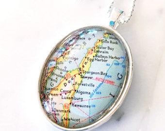 Door County Necklace - Door County Pendant - Door County Jewelry - Map Necklace - Door County Wisconsin - Wanderlust Necklace