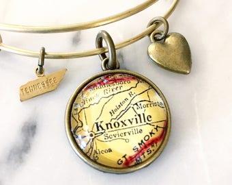 Knoxville Charm Bracelet - Knoxville Bracelet - Vols Bracelet - University of Tennessee - Stacked Bangle - Knoxville Jewelry - Sevierville
