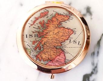 Scotland Mirror Compact - Rose Gold - Compact Mirror - Makeup Mirror - Purse Mirror - Bridesmaid Gift - Honeymoon Gift - Bridesmaid Proposal