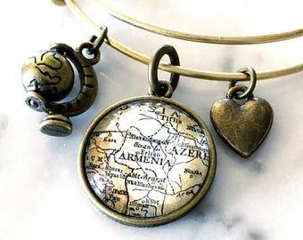 Armenia Map Charm Bracelet - Armenia Bracelet - Armenia Charm Bracelet - Wanderlust Jewelry - Travel Bracelet - Wanderlust Bracelet