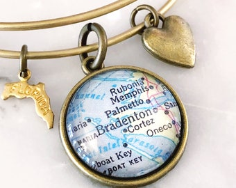 Bradenton Map Charm Bracelet - Bradenton Bracelet - Bradenton Charm Bracelet - Travel Bracelet - Wanderlust Bracelet - Florida Bracelet