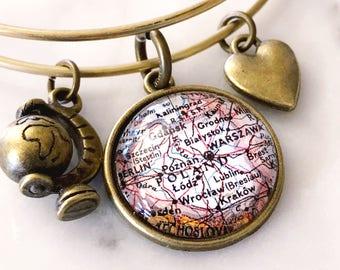 Poland Map Charm Bracelet - Poland Bracelet - Poland Charm Bracelet - Travel Bracelet - Wanderlust Bracelet - Krakow Bracelet - Wanderlust
