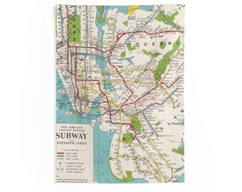 Nyc Subway Map Paper.Nyc Subway Map Etsy
