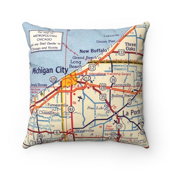 Michigan And Indiana Map.Michigan City Indiana Map Pillow Michigan City Wedding Gift Etsy