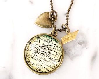 Nashville Charm Necklace - Nashville Necklace - Nashville Jewelry - Charm Necklace - Travel Jewelry - Travel Necklace - Wanderlust Necklace