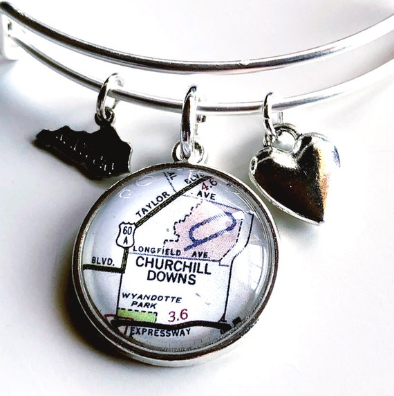 Churchill Downs Map Charm Bangle celet - Map Jewelry - Kentucky Derby on louisville map, texas motor speedway map, santa anita map, elizabethtown map, cave hill cemetery map, emerald downs map, madison square garden map,