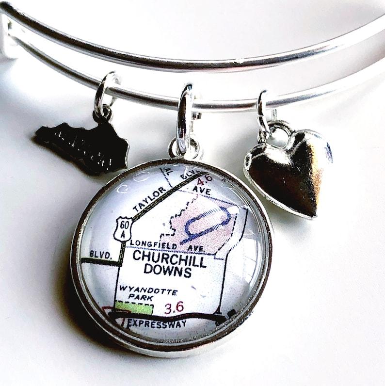 Churchill Downs Map Charm Bangle Bracelet Map Jewelry   Etsy