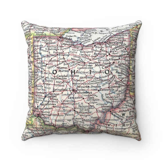 Ohio Map Pillow Ohio Pillow Ohio Wedding Gift Ohio Etsy
