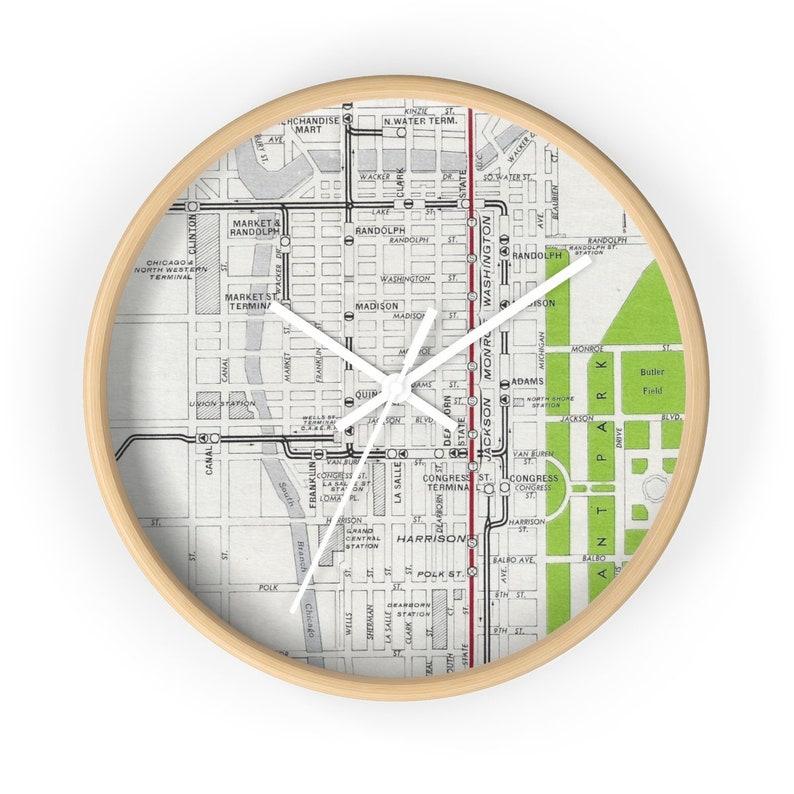 Chicago Loop Wall Clock CTA Map Clock Chicago Clock   Etsy on