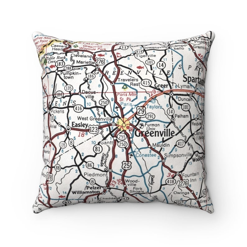 Greenville Pillow Greenville Airbnb Decor Greenville Gift Greenville South Carolina Map Pillow Housewarming Gift
