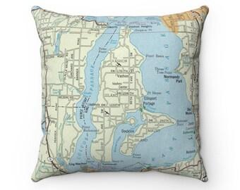 Vashon Island Washington Map Pillow - Vashon Island Pillow - Vashon Island Airbnb Decor - Vashon Island Gift - Housewarming Gift