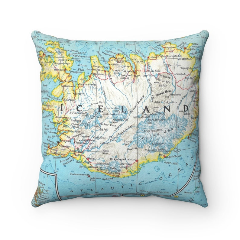 Iceland Vintage Map Pillow - Iceland Pillow - Iceland Map Pillow - on grimsey island iceland map, hekla iceland map, hvolsvollur iceland map, egilsstadir iceland map, geysir iceland map, hellnar iceland map, gullfoss iceland map, keflavik iceland map, seydisfjordur iceland map, gauksmyri iceland map, hafnarfjordur iceland map, skaftafell iceland map, vik iceland map, landmannalaugar iceland map, reykjavik iceland map, laugarvatn iceland map, hofsos iceland map, skagafjordur iceland map, akranes iceland map, holmavik iceland map,