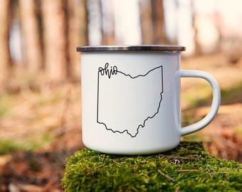 Ohio Mug - Camping Gift for Hiker - State Camp Mug with Stainless Rim - Ohio Tin Mug - Ohio Tin Camping Mug - Ohio Enamel Mug - Hiker Gift
