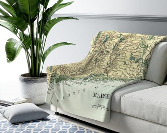 Maine Coast Map Fleece Blanket - Maine Map Blanket - Maine Blanket - Wanderlust Blanket - Maine Gift