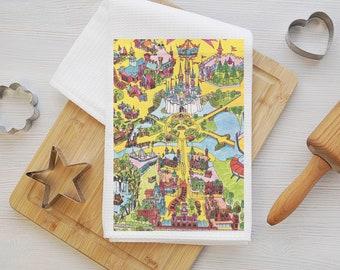 Walt Disney World Map Tea Towel - Walt Disney World Map Kitchen Towel - Walt Disney World Dish Towel - Disney Kitchen