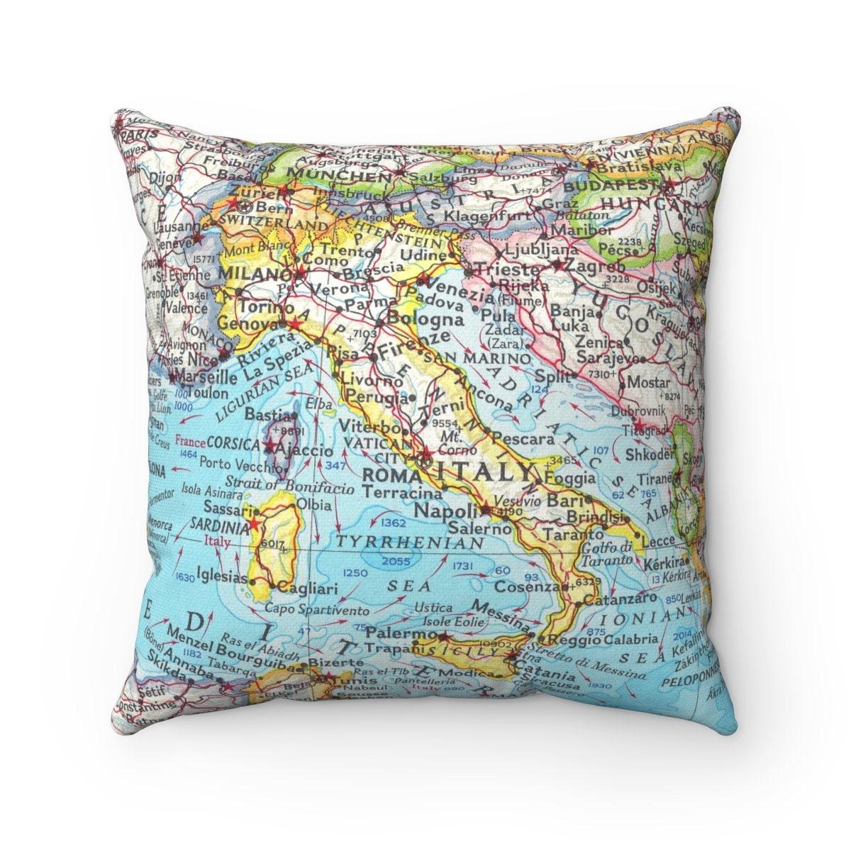 Italy Map Pillow Italy Wedding Gift Italy Pillow   Etsy