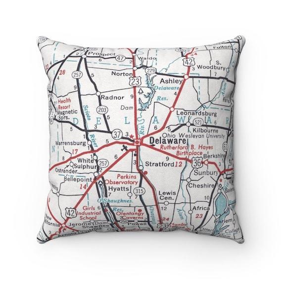 Ashley Ohio Map.Delaware Ohio Map Pillow Ohio Wesleyan University Pillow Etsy