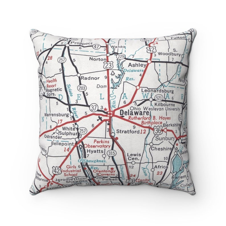 Delaware Ohio Map Pillow Ohio Wesleyan University Pillow | Etsy on