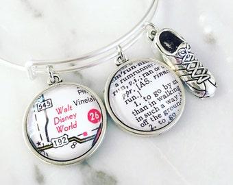 Walt Disney World Marathon Charm Bracelet - Personalized Definition Jewelry - Marathoner - Runner - Running - Run Disney - Half Marathon