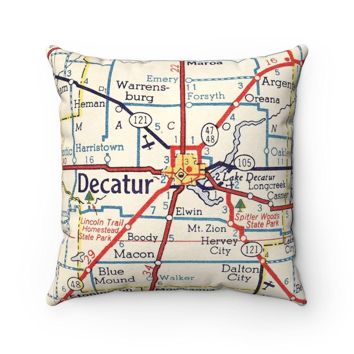 Decatur Illinois Map.Decatur Illinois Map Pillow Decatur Wedding Gift Decatur Etsy