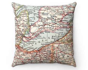 Lake Erie Map Pillow - Lake Erie Pillow - Lake Erie Gift - Lake Erie Map - Erie Islands - Lake House Decor - Airbnb Pillow