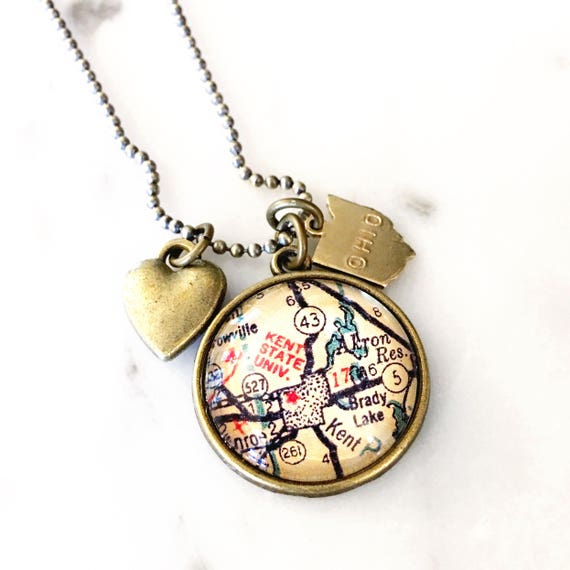 Kent State University Map Necklace - Kent State Necklace - Kent State on