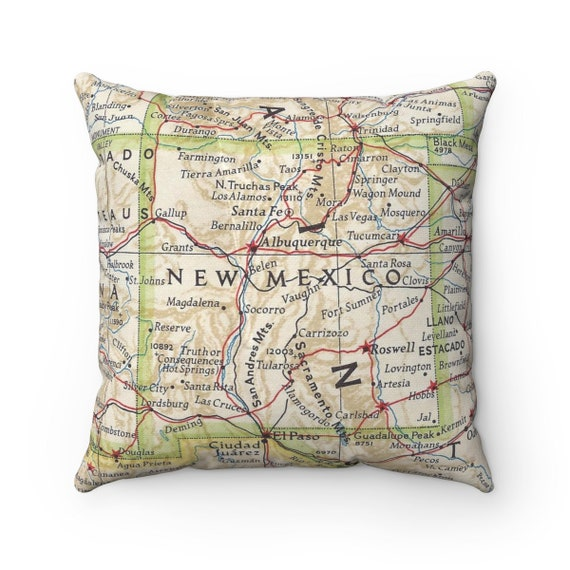 Jal New Mexico Map.New Mexico Vintage Map Pillow New Mexico Pillow New Mexico Etsy