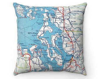 Whidbey Island Washington Map Pillow - Whidbey Island Pillow - Whidbey Island Airbnb Decor - Whidbey Island Map - Puget Sound Pillow