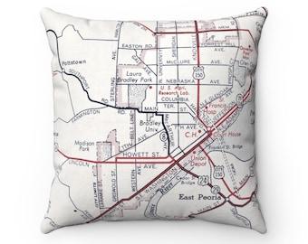 Bradley University Map Pillow - Bradley University Airbnb Decor - Bradley University Pillow - Bradley University Map - Graduation Gift