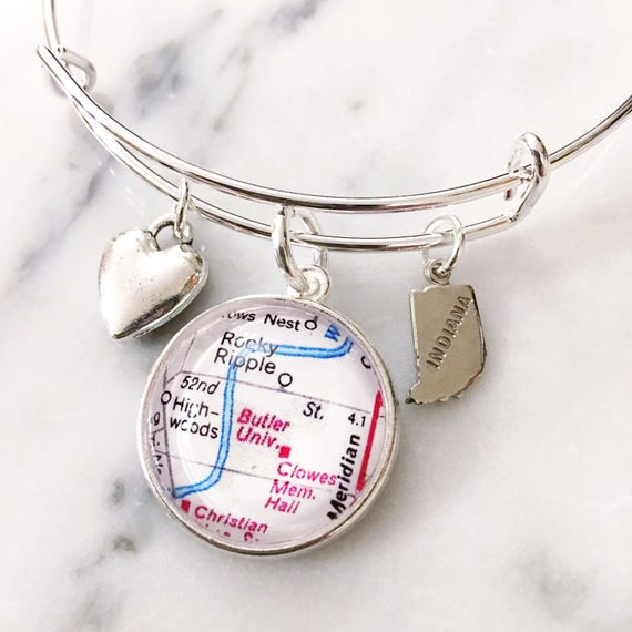 Butler University Charm Bracelet - Butler Bulldogs - Map Jewelry -  Graduation Gift - Gift for Graduation - Alumni Gift - Butler Graduate