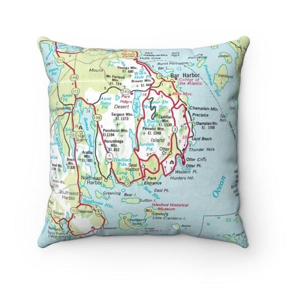 Acadia National Park Map Pillow  Acadia National Park Pillow