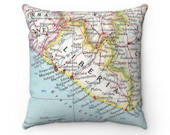 Liberia Map Pillow - Liberia Pillow - Liberia Map - Housewarming Gift - Wedding Gift - Liberia Gift