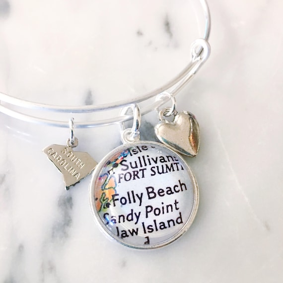 Folly Beach South Carolina Map.Folly Beach South Carolina Map Charm Bracelet Personalized Etsy