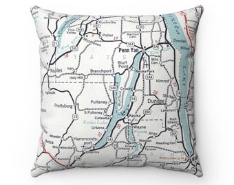 Keuka Lake New York Map Pillow - Keuka Lake Pillow - Housewarming Gift - Wedding Gift - Lake House Gift