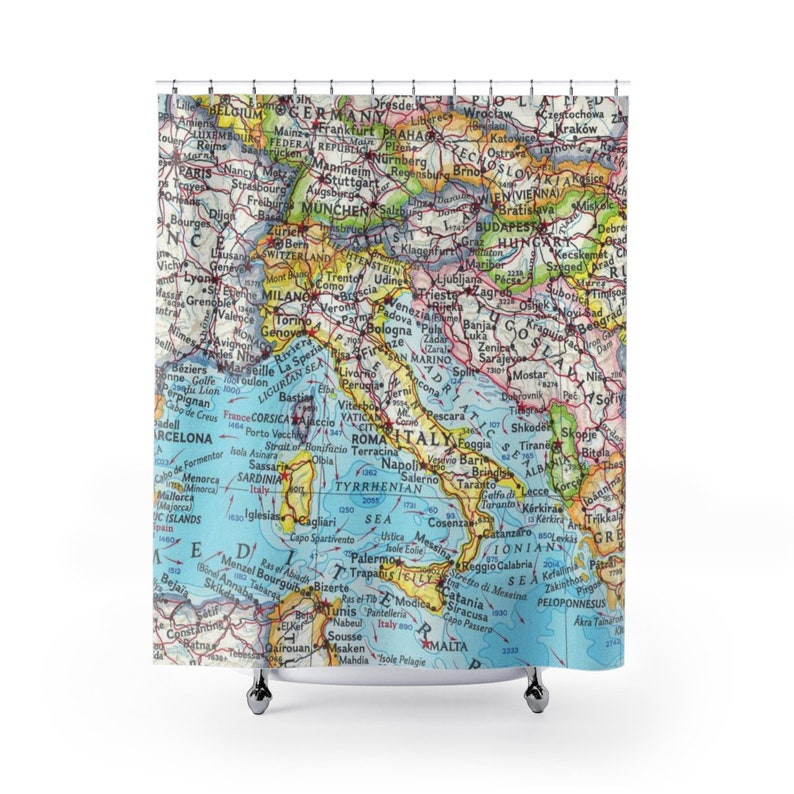 Italy Shower Curtain Map Shower Curtain Travel Shower
